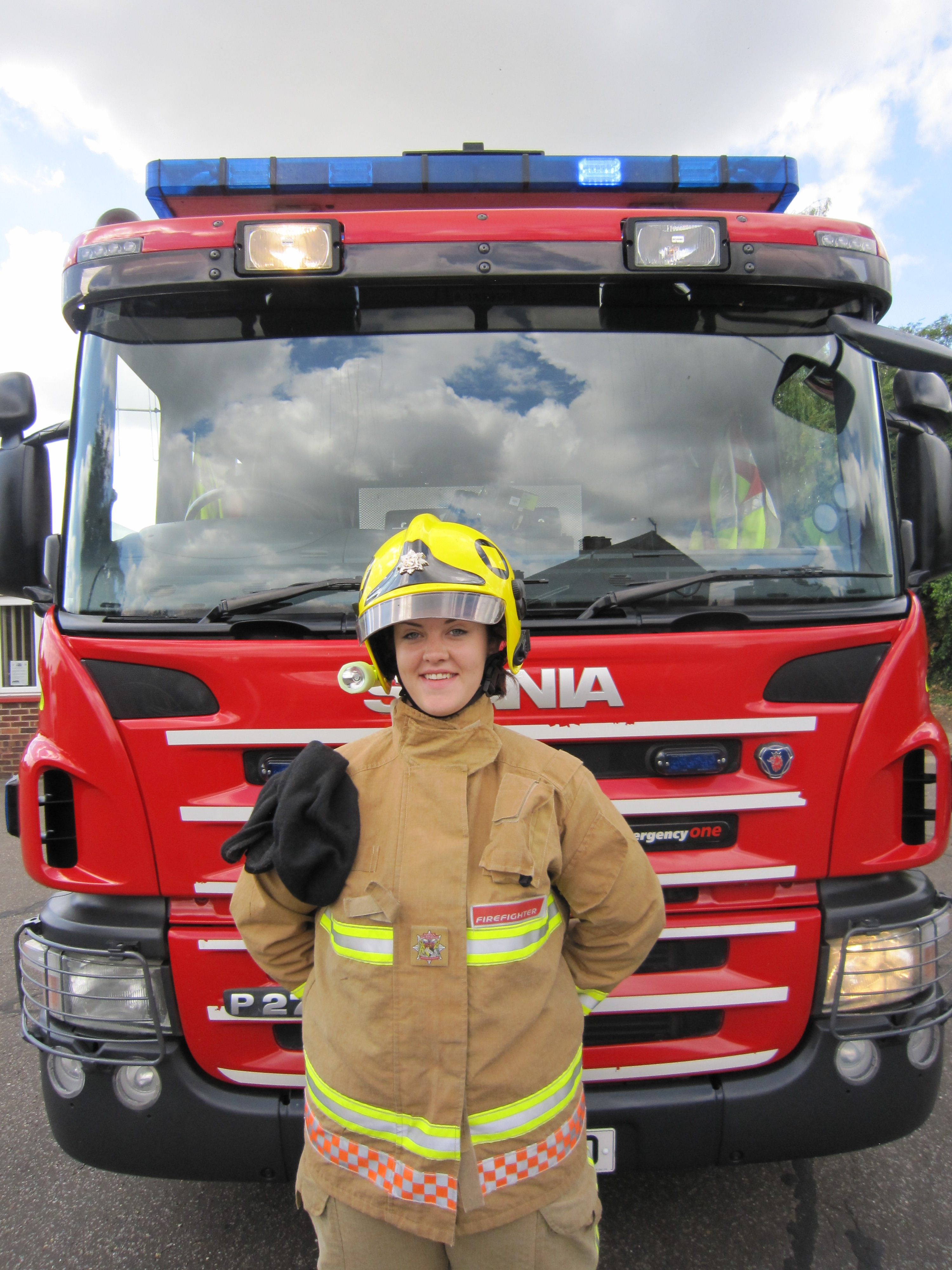 Chloe in front of fire engine