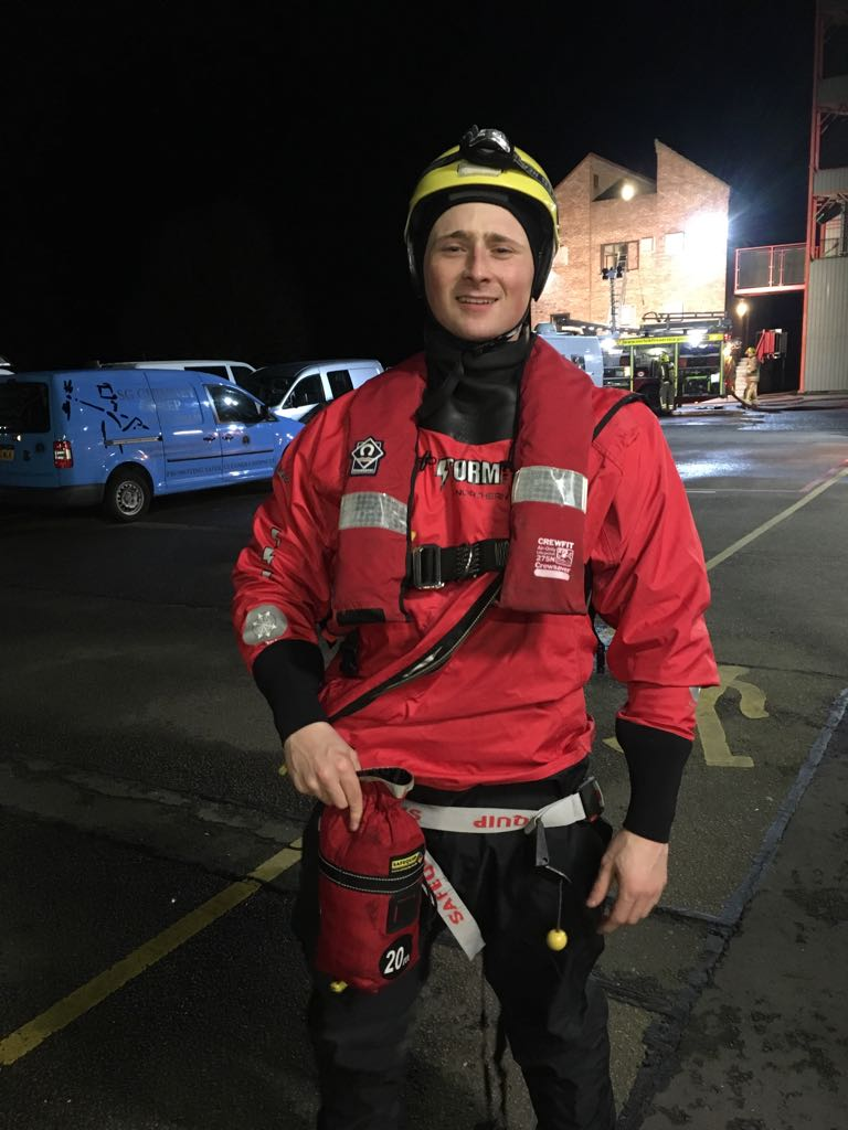 Declan in water rescue gear
